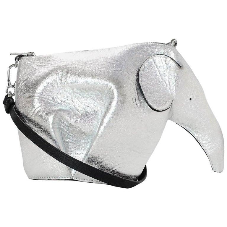 Loewe Silver Sheepskin Leather Mini Elephant Crossbody Bag W  Black Strap  For Sale c16b6fcaa2f6c
