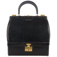 Hermes Vintage Black Leather Sac Mallette Top Handle Bag