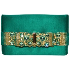 Roberto Cavalli Green Satin Gold Tone & Green Beaded Bow Clutch