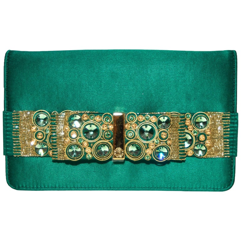 Roberto Cavalli Green Satin Gold Tone & Green Beaded Bow Clutch For Sale