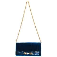 Roberto Cavalli Midnight Blue Velvet Pochette Clutch Bag
