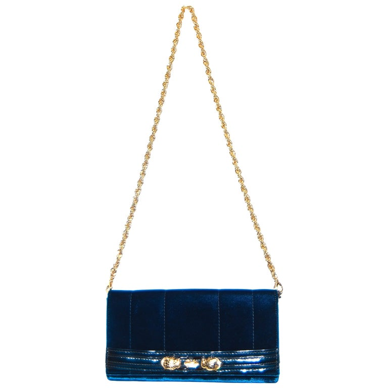 detailed look 64538 c5696 Roberto Cavalli Midnight Blue Velvet Pochette Clutch Bag