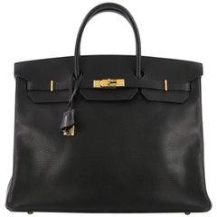 c0d9a17e805f Hermes Birkin Handbag Noir Ardennes with Gold Hardware 40