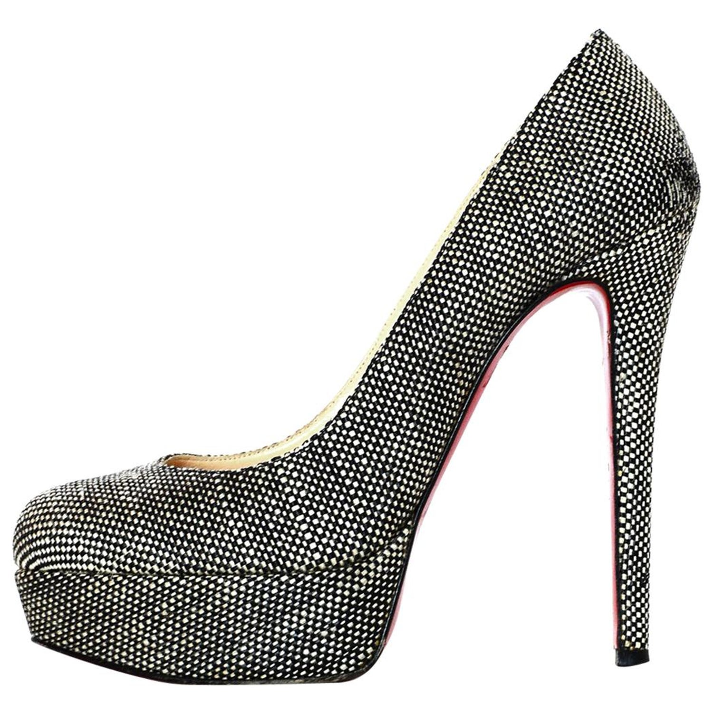 127766fb2f1b Christian Louboutin Black White Tweed Bianca Platform Shoes Sz 37 For Sale  at 1stdibs