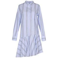 Brunello Cucinelli Light Blue Cotton Striped Shirt Dress - 8