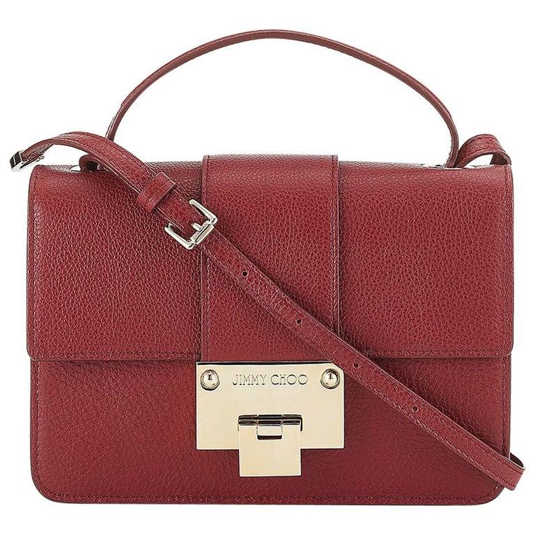 829c794d33 New JIMMY CHOO *Rebel* Red Grainy Calf Leather Cross Body Bag