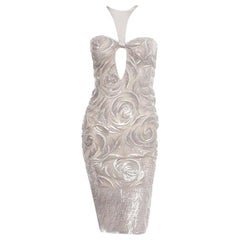 TOM FORD for GUCCI 2004 Collection Embellished Dove Grey Cocktail Dress 38