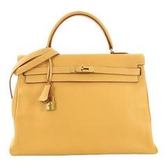 Hermes Kelly Handbag Natural Sable Clemence with Gold Hardware 35