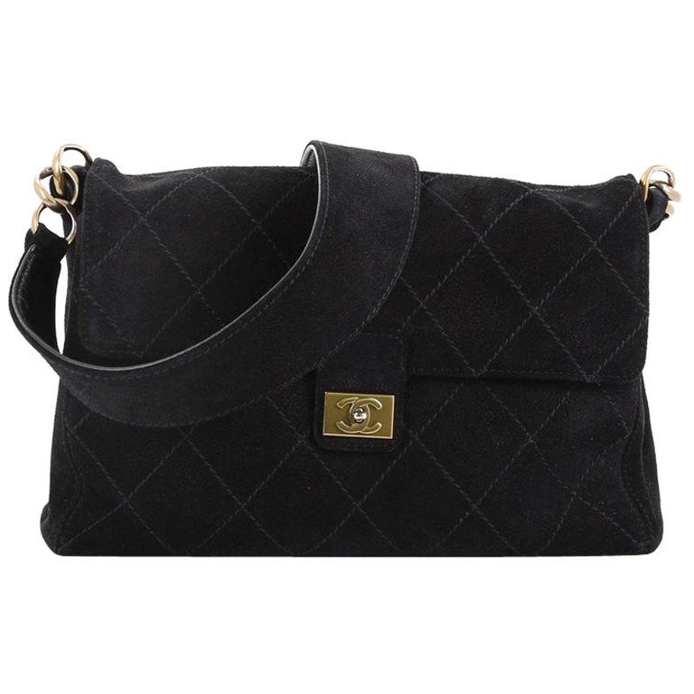 00bd75978c Chanel Vintage Stitch Flap Messenger Bag Quilted Suede Medium For Sale