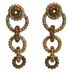 Francoise Montague Swarovski Crystal Triple Circle Clip Earrings