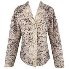 ISSEY MIYAKE Size M Beige Marble Print Notch Lapel Jacket