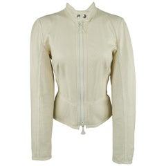 GIANFRANCO FERRE Size 6 Cream Perforated Leather Biker Jacket