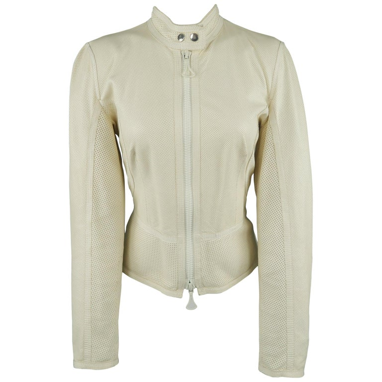super popular outlet 100% high quality GIANFRANCO FERRE Size 6 Cream Perforated Leather Biker Jacket