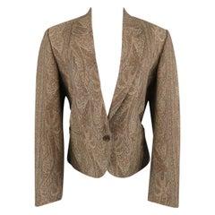 KENZO Size M Brown Wool / Cotton Paisley Notch Lapel Jacket
