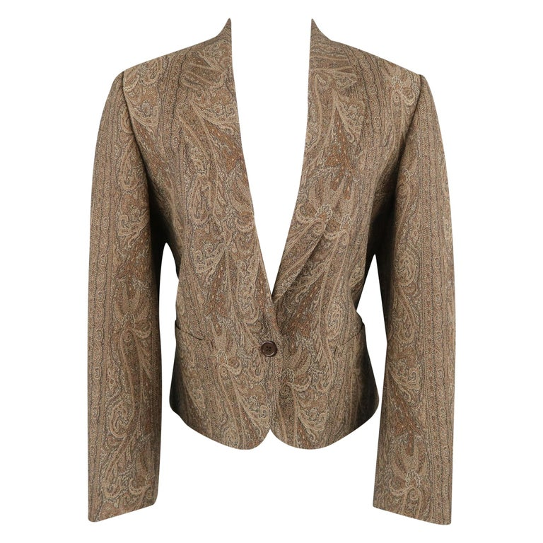 57d1bfe8 KENZO Size M Brown Wool / Cotton Paisley Notch Lapel Jacket For Sale ...