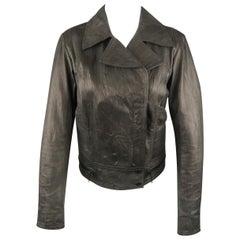 SUPERFINE Size L Grey Textured Leather Biker Jacket