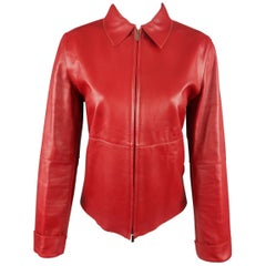 MALO Size 6 Red Leather Collared Jacket
