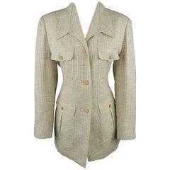 LANVIN Size 8 Beige Textured Military Pocket Jacket