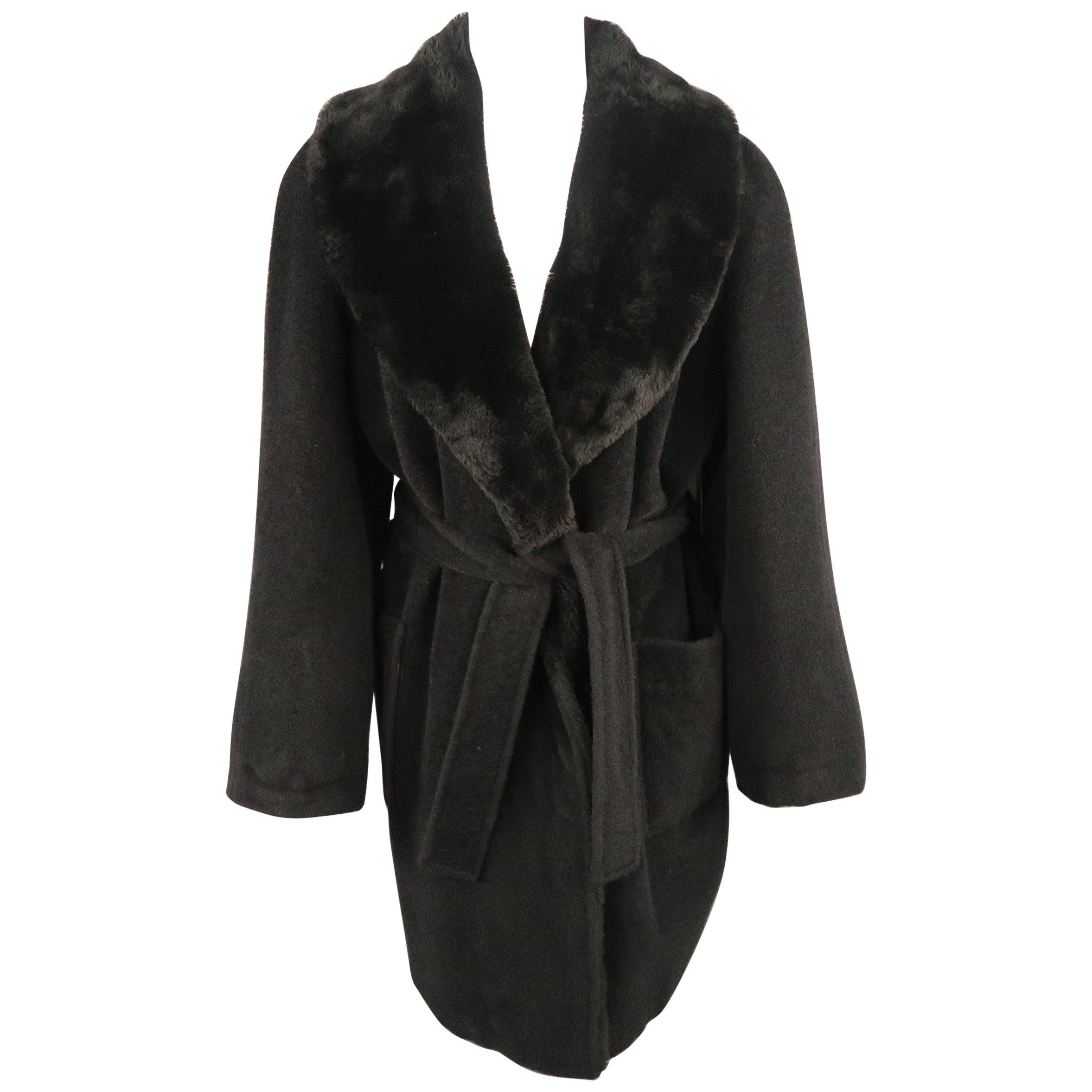 Vintage SONIA RYKIEL Size L Black Faux Fur Shawl Collar Robe Coat