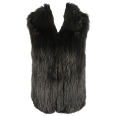 THEORY Size M Black Knitted Fox Fur Collared Vest