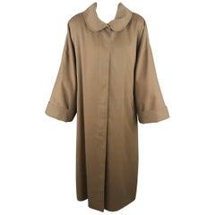 Jahrgang 1980 FENDI Größe L Olivenölfarbe runder Kragen überdimensioniert über Mantel