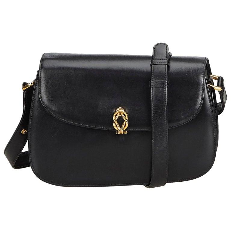f65a95f084489d Gucci Black Old Gucci Leather Shoulder Bag For Sale at 1stdibs