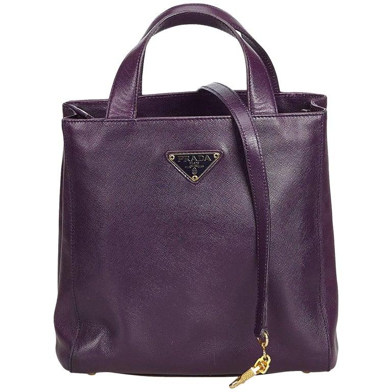 dede3783 Prada Purple Saffiano Leather Lux Satchel