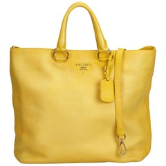 Prada Yellow Vitello Daino Leather Satchel