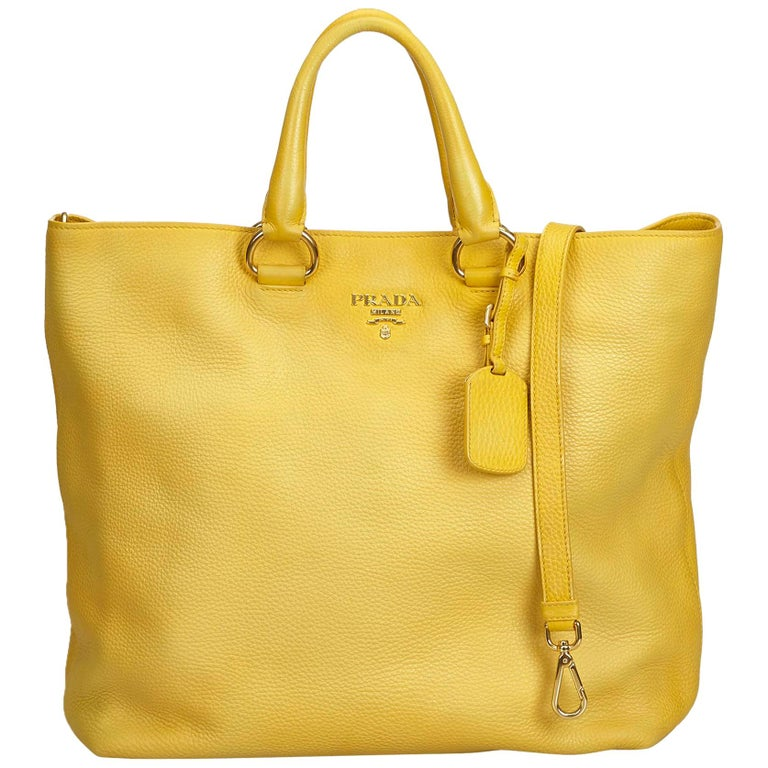 b127e4e98865 Prada Yellow Vitello Daino Leather Satchel at 1stdibs