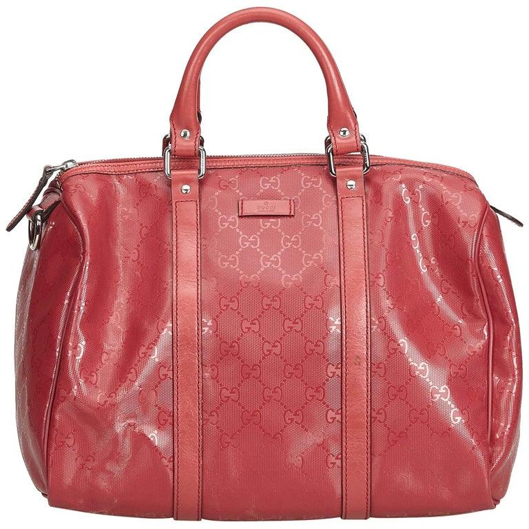 22339714997f Gucci Red Imprime Guccissima Boston Bag at 1stdibs