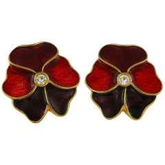 Yves Saint Laurent YSL Enamel Pansy Clip On Earrings