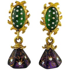 Claire Deve Vintage Celestial Jewelled Dangling Earrings