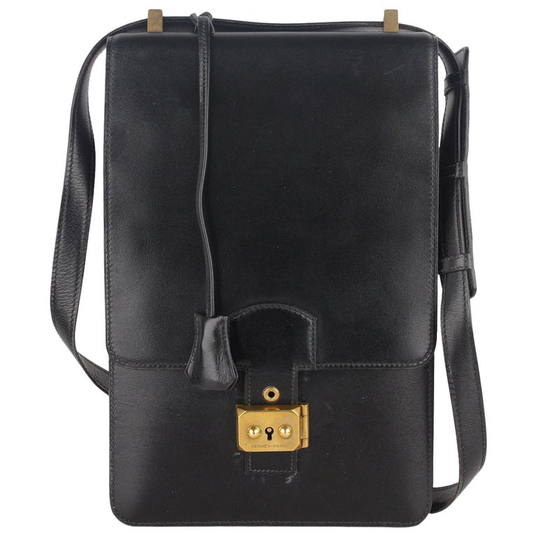 Hermes Vintage Black Leather Box Sac a Depeche Shoulder Bag