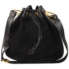 23170ed6169 Gucci Vintage Black Suede Horsebit Drawstring Bucket Bag