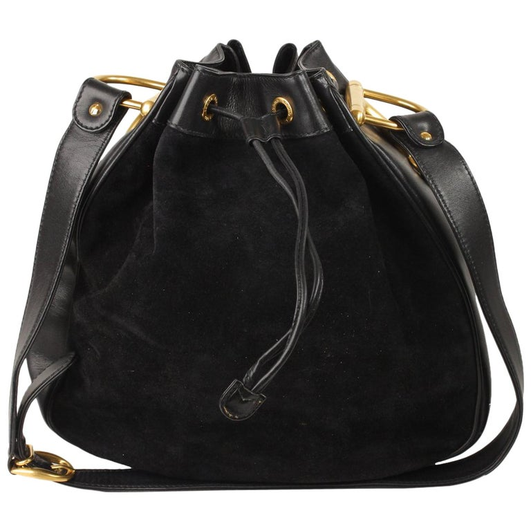 5e8a35ad11b Gucci Vintage Black Suede Horsebit Drawstring Bucket Bag For Sale at ...