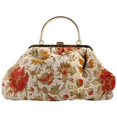 Julius Resnick Multi Warm Colour Floral Carpet Bag with Gold Tone Fittings