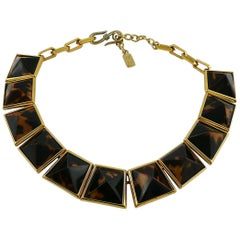 Yves Saint Laurent YSL Vintage Iconic Leopard Pyramid Necklace