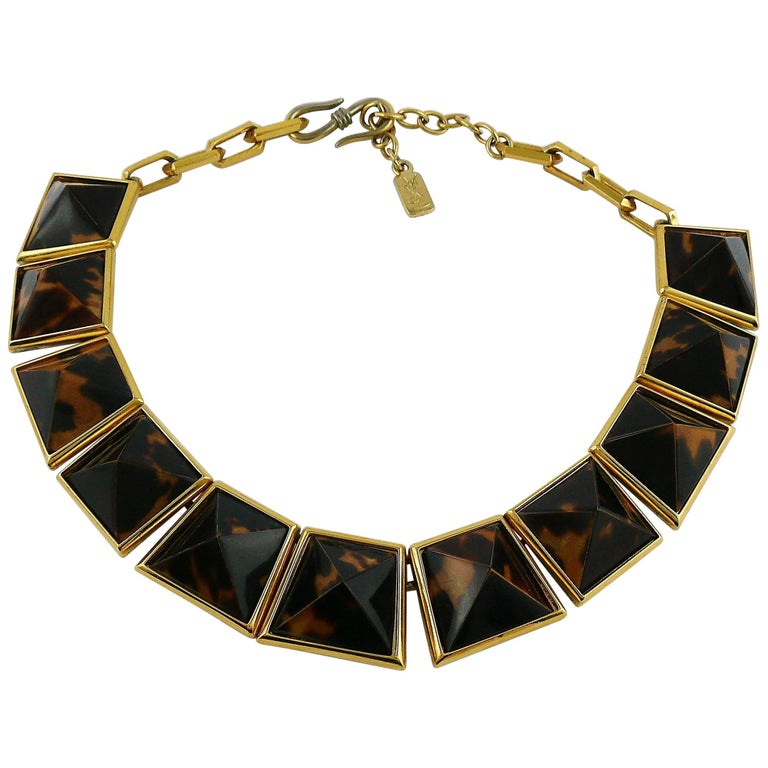 Yves Saint Laurent YSL Vintage Iconic Leopard Pyramid Necklace For Sale