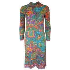 Vintage Leonard Paris Silk Jersey Colorful Print Dress