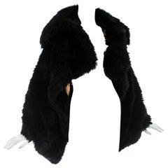 Vivienne Westwood black faux fur oversized cropped jacket, A/W 1993
