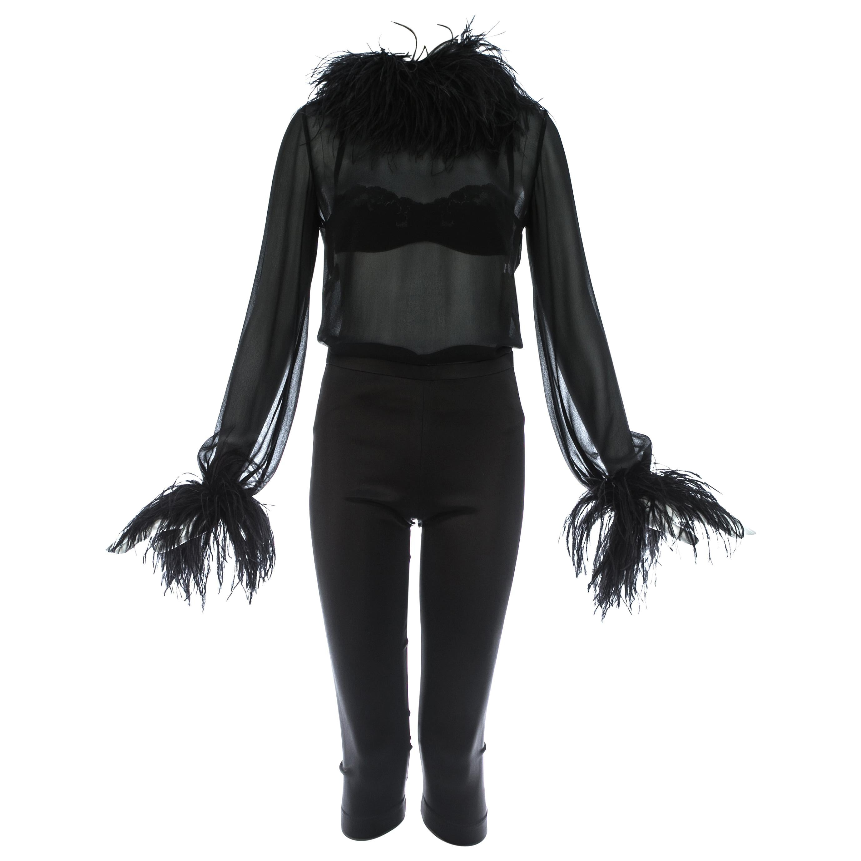 Dolce & Gabbana black 3-piece ensemble with ostrich feathers, A/W 1995
