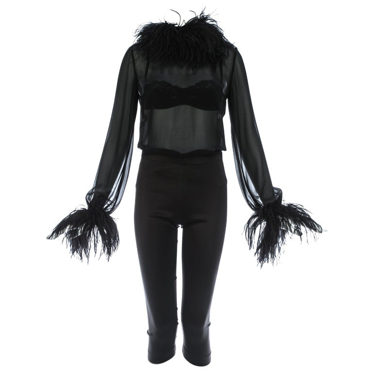 Dolce & Gabbana black 3-piece ensemble with ostrich feathers, A/W 1995 For Sale