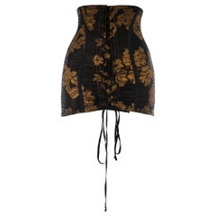 Dolce & Gabbana copper brocade and black spandex boned lace up corset, c. 1990s