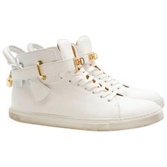 Buscemi padlock White Leather High-Top Trainers SIZE EU 43 / US 10