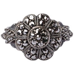 Silver and Marcasite Flower Design Ring