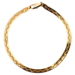 14kt Gold Italy Herringbone Wave Design Chain Bracelet