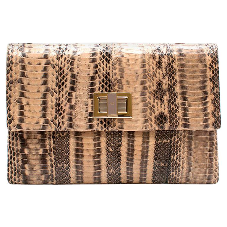 Anya Hindmarch Beige Python Valorie Clutch Bag For Sale