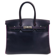 Hermes preloved Raisin / Anemone Birkin 35cm