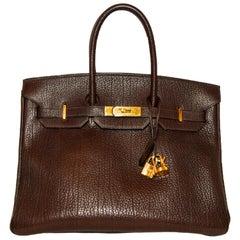 Hermes Brown Togo Leather Birkin 35 Bag