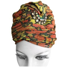 Schiapparelli Tall Metallic Floral Turban with Crescent Jewel Accent